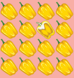 seamless pattern with yellow bell pepper vector image
