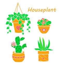 set cactus houseplant flat vector image