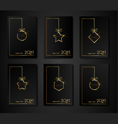 set cards 2021 happy new year gold frame texture vector image