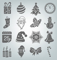 set christmas icons isolated vector image