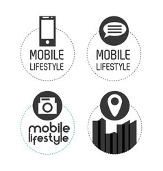 Set digital technology apps icons vector