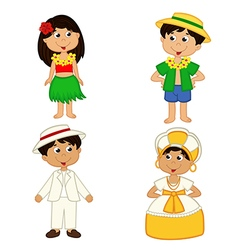 set of isolated children of hawaii and Brazil vector image