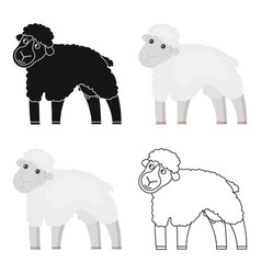 Sheep icon cartoon single bio eco organic vector