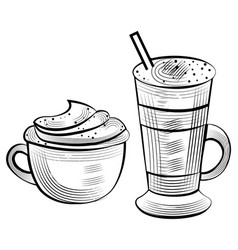 sketch coffee cappuccino and latte vector image