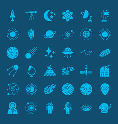 Space glyph web icons vector
