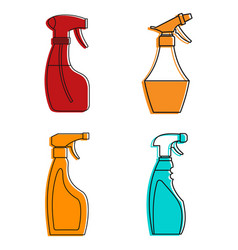spray icon set color outline style vector image