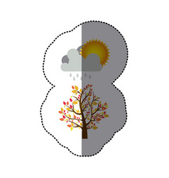 Sticker colorful nature picture with autumn tree vector