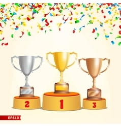 Trophy Cups On Podium Golden Bronze Silver vector image