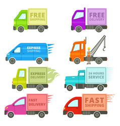 Trucks with free or fast shipping signs vector