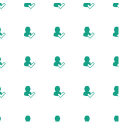 user and tick icon pattern seamless white vector image