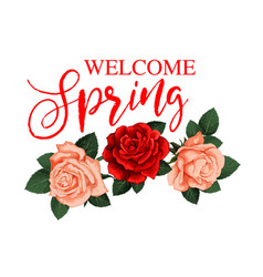 Welcome spring greeting card with rose flower vector