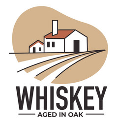 whiskey aged in oak barrel alcohol production vector image