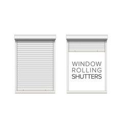 Window with rolling shutters opened and vector