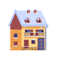 Winter rural house with chimney wintertime vector