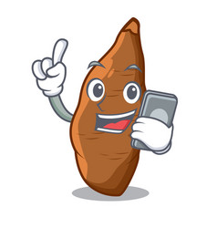 With phone character cassava in the market fruit vector