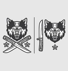 Wolf Head with Crossed Knives Logo Emblem vector image