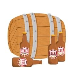 Wooden barrel with bottles of beer design vector