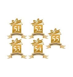 year gift box ribbon anniversary set vector image