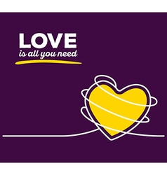 Yellow color heart with white wire and te vector