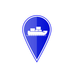 blue map pointer with cargo ship vector image