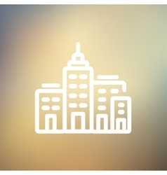 Condominium building thin line icon vector image vector image