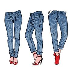 Denim set Hand drawn fashion clip art vector image