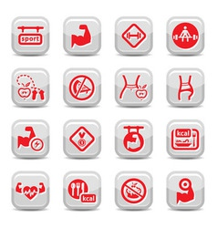 fitness and bodybuilding icons vector image vector image