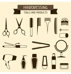 Hairdressing tools and products vector image