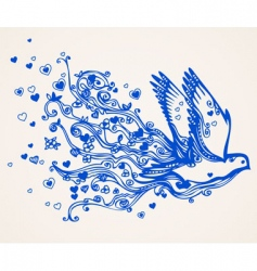 hand drawn floral flying bird vector image vector image