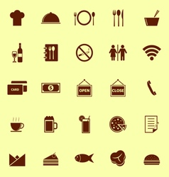 Restaurant color icons on yellow background vector image vector image
