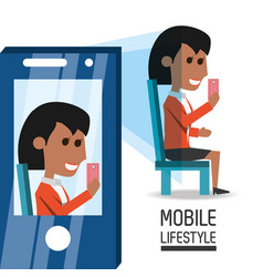 Woman with smartphone in the hand taking of selfie vector