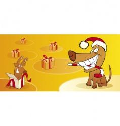 Christmas card with dog vector image