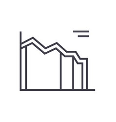high area chart line icon sign vector image vector image