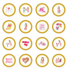 mother day cartoon icon circle vector image
