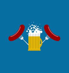 mug beer and sausage logo for oktoberfest holiday vector image