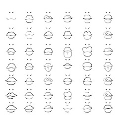 Set isolated fashion sketch lips Women monochrome vector image