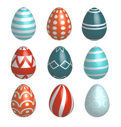 set of nine realistic colorful easter eggs vector image vector image