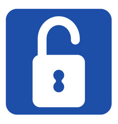 Blue white information sign - open padlock icon vector