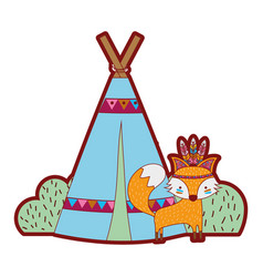 Line color fox animal with camp design and bushes vector