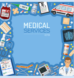 medical services banner and frame vector image vector image