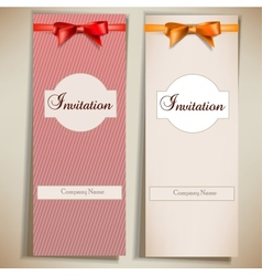 Retro card notes with ribbons Red and beige vector image vector image