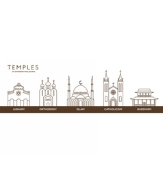 Temples of world different religions Infographics vector image