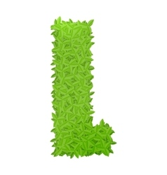 Uppecase letter L consisting of green leaves vector image