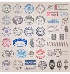 Vintage postage stamps vector image