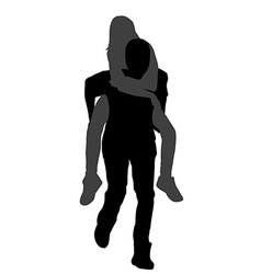 Young male carrying his girlfriend piggyback vector
