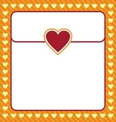 Frame shaped from yellow heart on orange vector image vector image