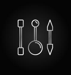 piercing barbells outline silver icon vector image vector image