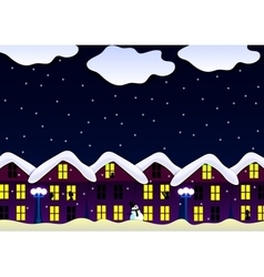 Winter house snowfall night vector