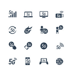 5g or 5th generation mobile network related icon vector image