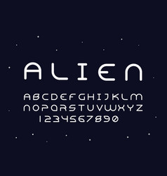Alien regular font alphabet vector